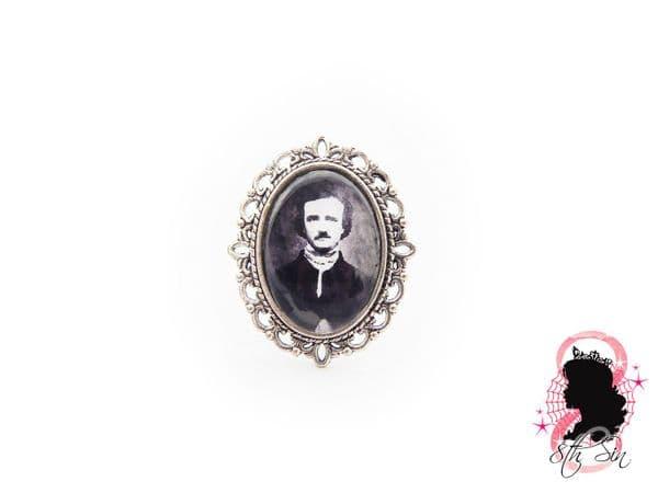 Antique Silver Edgar Allan Poe Ring